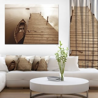 Designart 'Albufera Lake Wetlands Pier' Boat Wall Artwork on Canvas - Brown