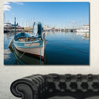 Designart 'Yachts in Toulon Port, France' Boat Wall Artwork on Canvas - Blue