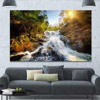 Designart 'Waterfall through the Forest' Extra Large Landscape Canvas Art Print - Multi-color