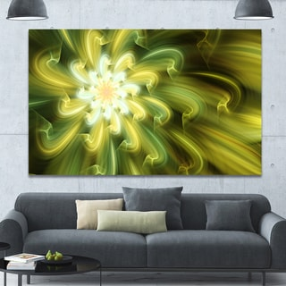 Designart 'Dance of Yellow Fractal Petals' Extra Large Floral Wall Art on Canvas - Green