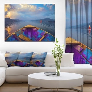 Designart 'Boat in Himalaya Mountains Lake' Boat Canvas Artwork