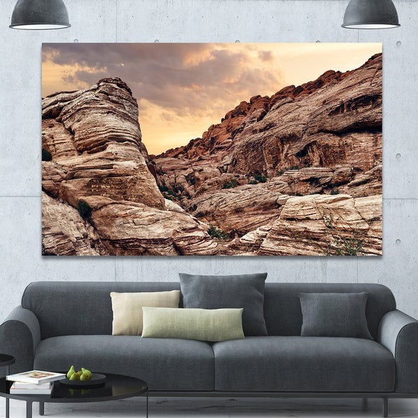 Designart 'Scenic Red Rock Canyon in Nevada' Extra Large Landscape Canvas Art Print