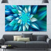 Designart 'Huge Blue Fractal Flower' Extra Large Floral Canvas Art Print