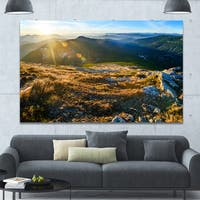Designart 'Mountains Glowing in Sunlight' Extra Large Landscape Canvas Art Print - Multi-color