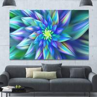 Designart 'Huge Light Blue Fractal Flower' Extra Large Floral Canvas Art Print