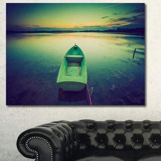 Designart 'Boat at Sunset in Vintage Lake' Boat Canvas Artwork - Multi