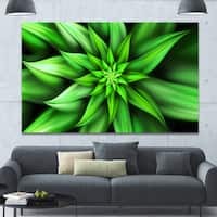 Designart 'Exotic Green Flower Petals' Extra Large Floral Wall Art on Canvas