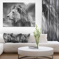 Designart 'Grey Wild African Lion' Modern Animal Canvas Art