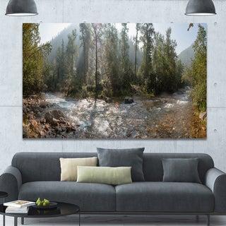 Designart 'Mountain River Panorama' Extra Large Landscape Canvas Art Print - Multi-color
