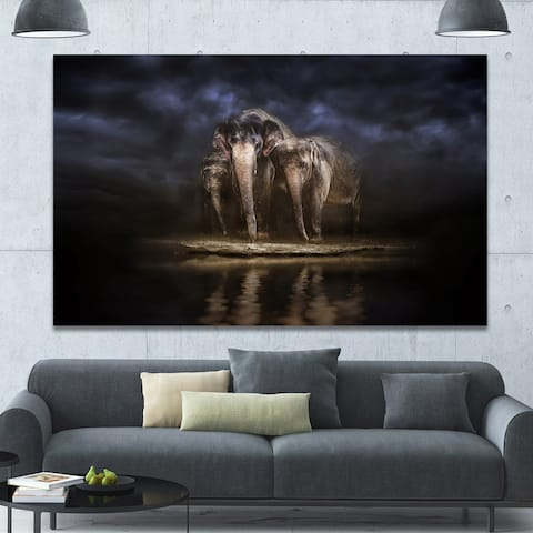 Designart 'Elephants Watering in the River ' Animal Canvas Wall Art