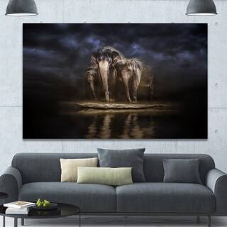 art pictures for living room. Designart  Elephants Watering in the River Animal Canvas Wall Art Green Gallery For Less Overstock com
