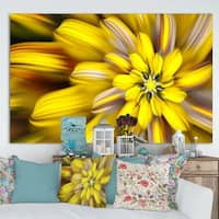 Designart 'Massive Yellow Fractal Flower' Extra Large Floral Canvas Art Print
