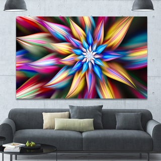 Designart 'Exotic Multi-Color Flower Petals' Extra Large Floral Wall Art on Canvas - Pink