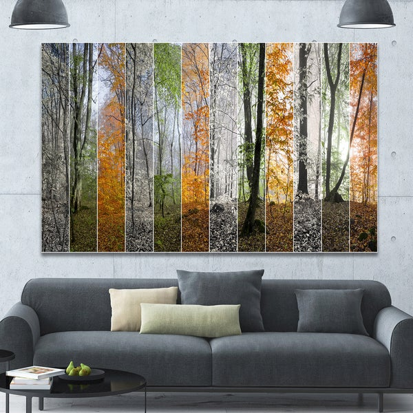 Designart 'Wood Panorama Changing Seasons' Large Landscape Canvas Art Print