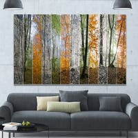 Designart 'Wood Panorama Changing Seasons' Large Landscape Canvas Art Print - Multi-color