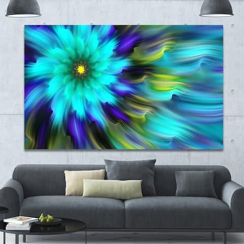 Designart 'Massive Blue Green Fractal Flower' Extra Large Floral Canvas Art Print