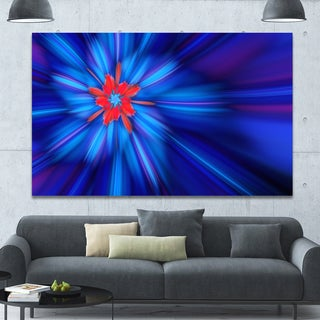 Designart 'Rotating Fractal Blue Fireworks' Extra Large Floral Wall Art on Canvas
