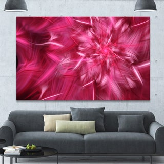 Designart 'Rotating Fractal Pink Fireworks' Extra Large Floral Wall Art on Canvas