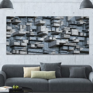 Designart 'Black Abstract Geometric Background' Abstract Canvas Wall Art - Grey