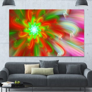 Designart 'Dance of Red Fractal Flower Petals' Extra Large Floral Wall Art on Canvas