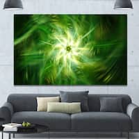 Designart 'Rotating Fractal Green Fireworks' Extra Large Floral Wall Art on Canvas