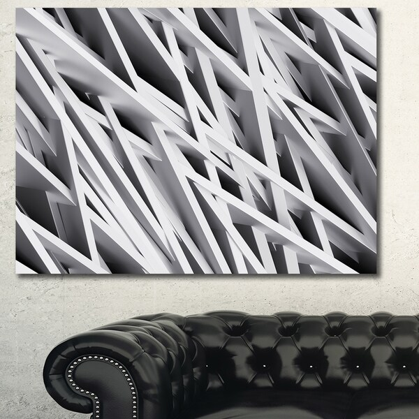 Designart 'White Geometric Wallpaper'Large Abstract Wall Art