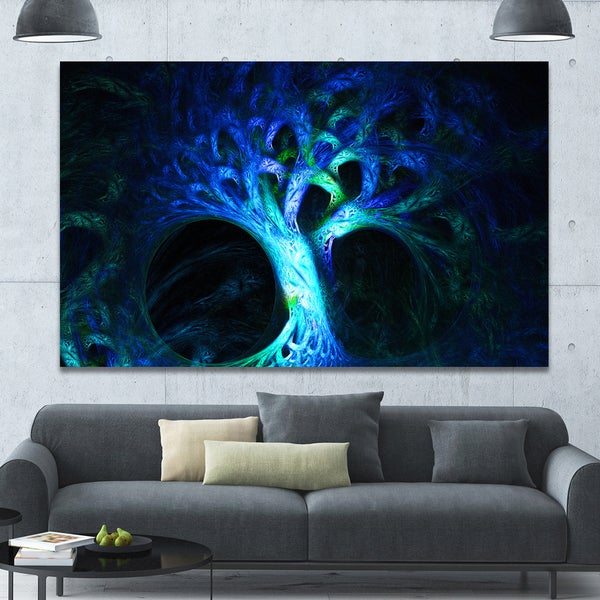 Designart 'Magical Blue Psychedelic Tree'Extra Large Abstract Canvas Art Print - Multi