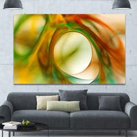 Designart 'Circled Green Psychedelic Texture' Extra Large Abstract Art on Canvas