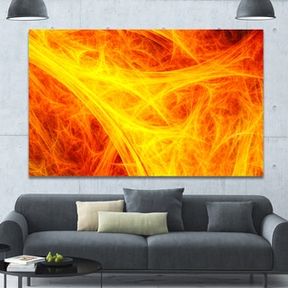 Designart 'Orange Mystic Psychedelic Texture' Extra Large Abstract Art on Canvas - Orange