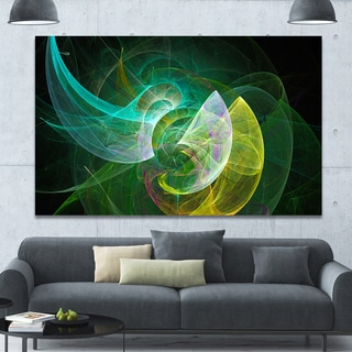 Designart 'Green Mystic Psychedelic Texture' Extra Large Abstract Art on Canvas - Green
