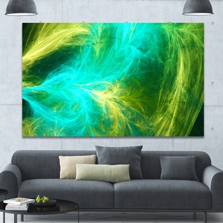 Designart 'Green Mystic Psychedelic Design' Extra Large Abstract Art on Canvas - Multi