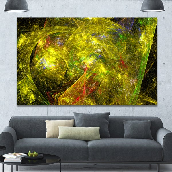 Designart 'Golden Mystic Psychedelic Texture' Extra Large Abstract Art on Canvas