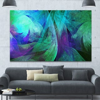 Designart 'Green Fractal Abstract Pattern' Extra Large Abstract Art on Canvas - Green