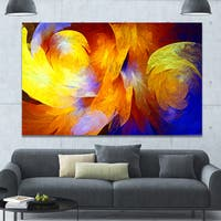 Designart 'Yellow Fractal Abstract Pattern' Extra Large Abstract Art on Canvas