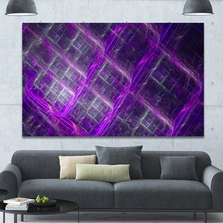 Designart 'Purple Abstract Metal Grill' Extra Large Abstract Art on Canvas - Purple