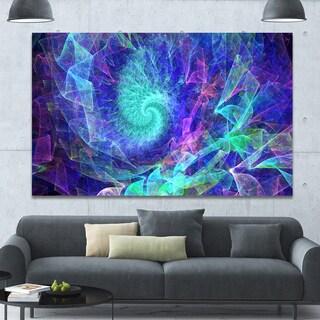 Designart 'Blue Spiral Kaleidoscope' Abstract Wall Art Canvas - Blue