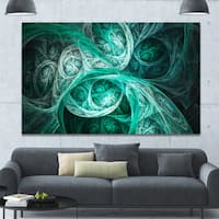 Designart 'Mystic Turquoise Fractal Wallpaper' Abstract Wall Art Canvas