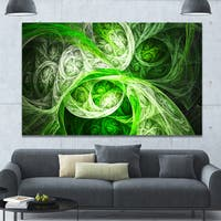 Designart 'Mystic Green Fractal Wallpaper' Abstract Wall Art on Canvas