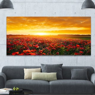 Designart 'Poppy Field under Ablaze Sunset' Abstract Wall Art Canvas - Yellow
