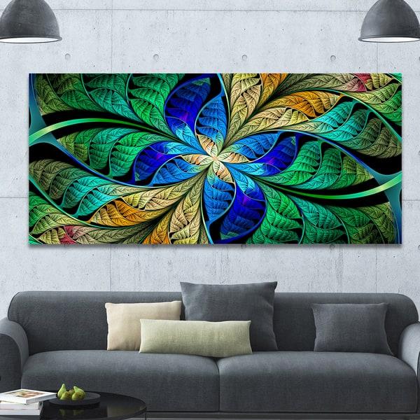 Designart Blue Green Fractal Flower Petals Large Wall Art On Canvas Overstock 14558106