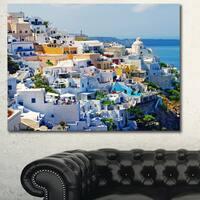Designart 'View of Fira Town Santorini' Abstract Wall Art Canvas