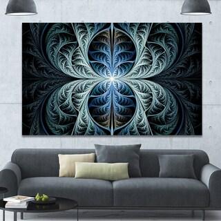 Designart 'Glowing Blue Fabulous Fractal Art' Large Wall Art on Canvas