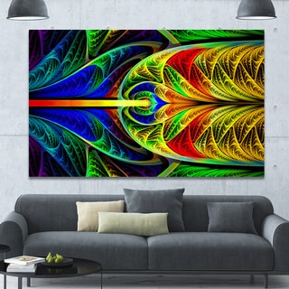 Designart 'Colorful Stained Glass Texture' Abstract Wall Art Canvas - Green