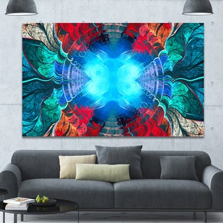 Designart 'Blue Fractal Circles and Waves' Large Wall Art on Canvas - Blue