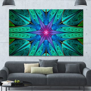 Designart 'Turquoise Star Fractal Stained Glass' Abstract Wall Art on Canvas