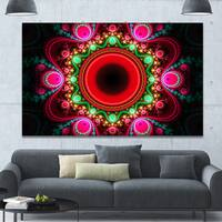 Designart 'Pink Wavy Curves and Circles' Large Wall Art on Canvas