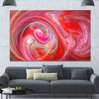 Designart 'Red Fractal Pattern with Circles' Large Wall Art on Canvas
