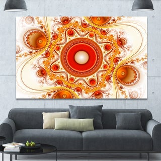 Designart 'Orange Fractal Pattern with Circles' Large Wall Art on Canvas - Red