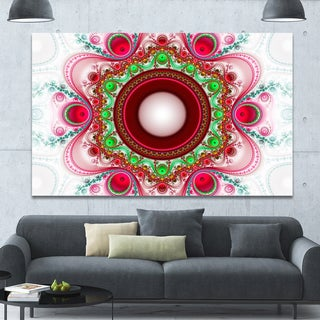 Designart 'Pink Fractal Pattern with Circles' Large Wall Art on Canvas - Multi