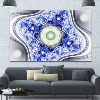 Designart 'Blue on White Pattern with Circles' Large Canvas Wall Art - Blue